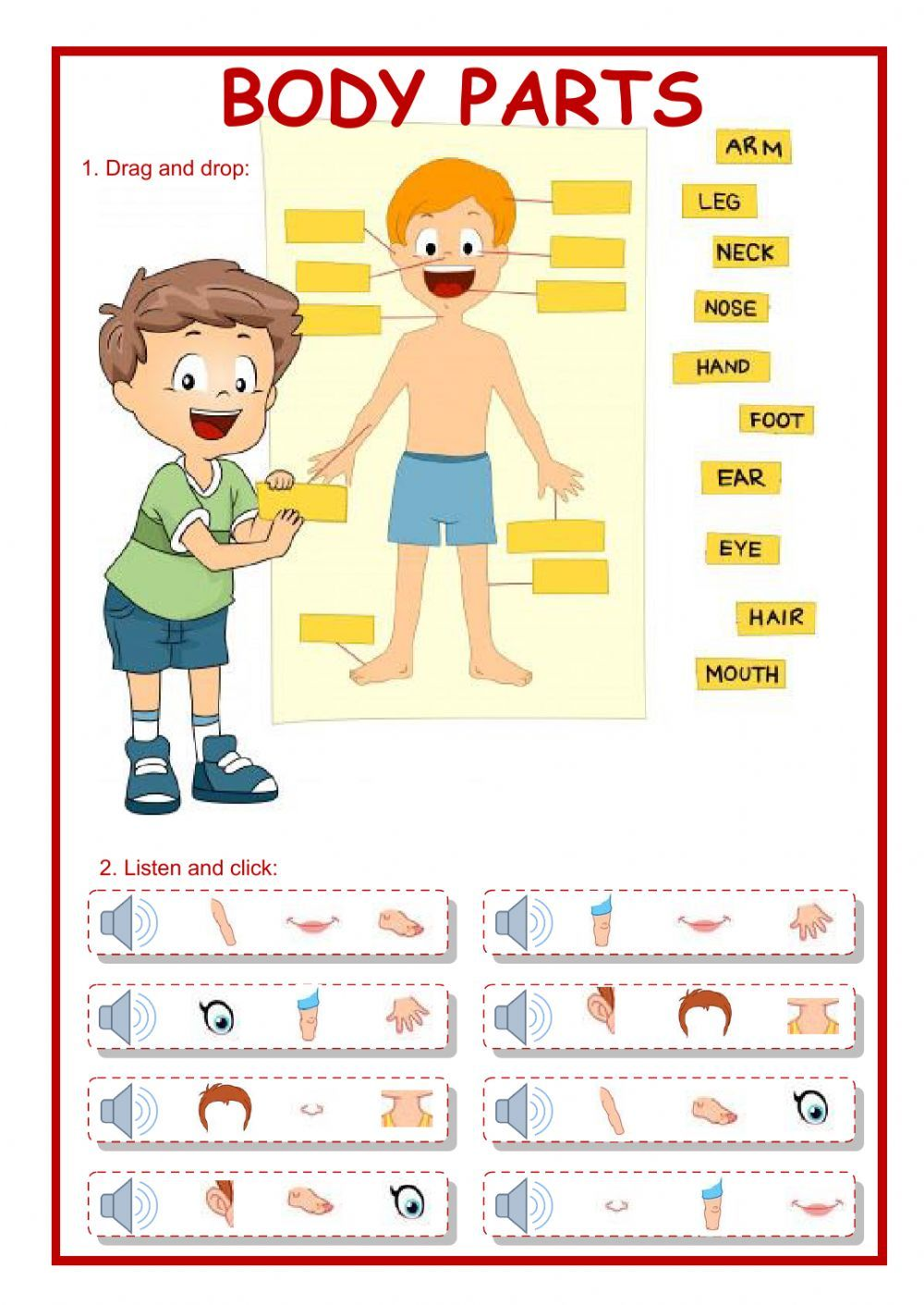 acivities with the parts of the body pdf